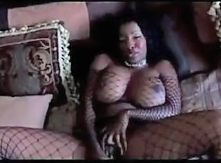 Big Tits Ebony Fishnet Masturbating MILF