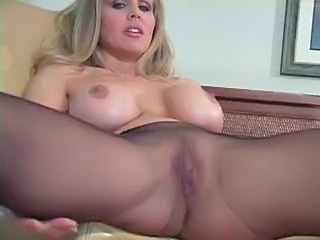 Blonde MILF Pantyhose Silicone Tits