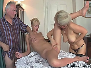 Daddy Daughter Family Granny Mom Old and Young Teen Threesome