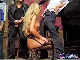 Amazing Blonde Blowjob Gangbang Long hair MILF Stockings