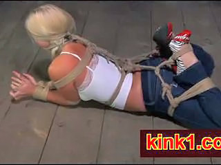 Sarah Jane Ceylon hogtied on the floor