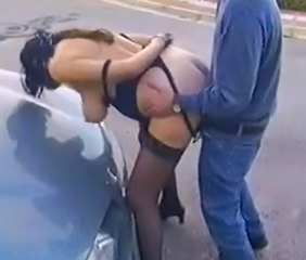 Big Tits Car Doggystyle MILF Outdoor Stockings