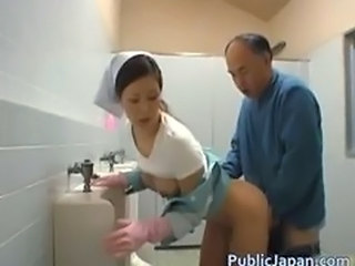 Asian Nurse Old and Young Toilet