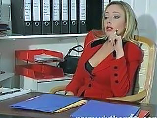 Amazing Blonde Bus Cute MILF Office Secretary