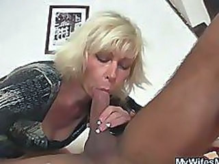 Blonde Blowjob CFNM Interracial Mom