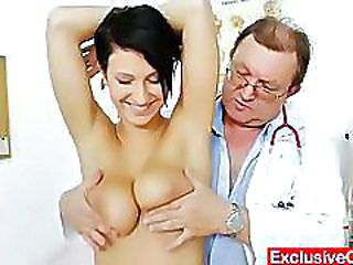 Big Tits Brunette Doctor Old and Young