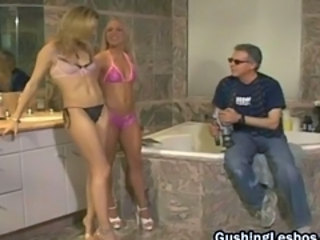 Bathroom Lesbian Lingerie Old and Young Threesome
