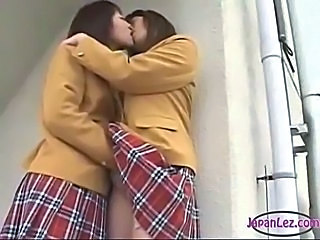 Asian Japanese Kissing Lesbian Skirt Teen Uniform