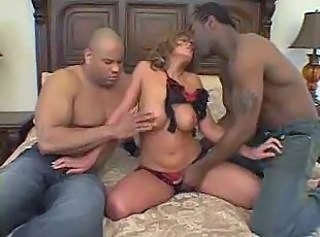 Interracial Latina Lingerie MILF Threesome