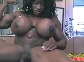 Big Tits Clit Ebony MILF Muscled