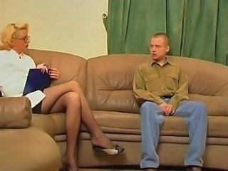 Blonde Glasses Legs MILF Old and Young Stockings