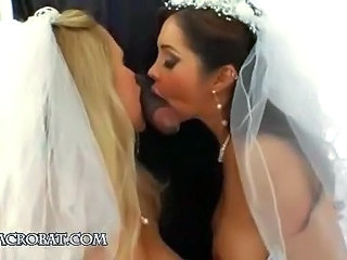 Blowjob Bride Interracial Threesome