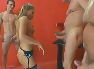 Blonde Gangbang MILF Stockings