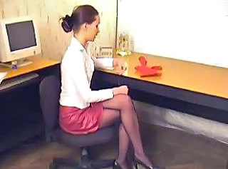 Office Pantyhose Secretary Teen