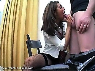 Amateur Blowjob Clothed European French Stockings Uniform