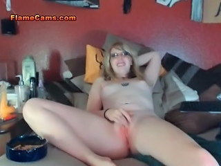 Glasses Masturbating MILF Small Tits Solo Webcam