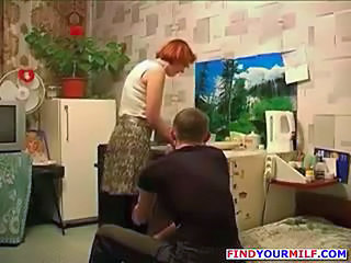 Amateur Homemade Kitchen Mature Mom Old and Young Redhead Russian