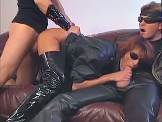 Blowjob Clothed Fetish Latex MILF Threesome