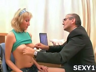 Blonde Old and Young Teacher Teen