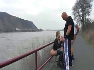 German Handjob Public Teen Threesome