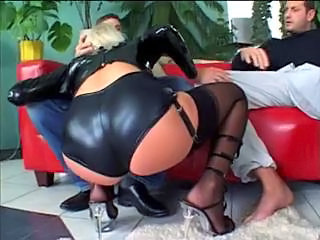 Blowjob European Latex Stockings Threesome