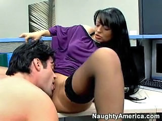 Brunette Clothed Licking MILF Office Stockings