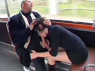 Blowjob Bus Clothed Public