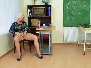 Masturbating Mature MILF School Stockings Teacher