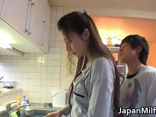Asian Japanese Kitchen Long hair MILF