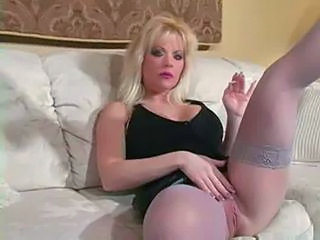 Blonde MILF Pussy Smoking Stockings