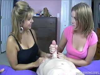 Blonde Daughter Family Handjob MILF Mom Old and Young Threesome