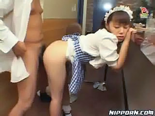 Asian Clothed Doggystyle Maid Uniform