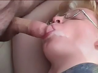 Blowjob Cumshot Glasses Swallow