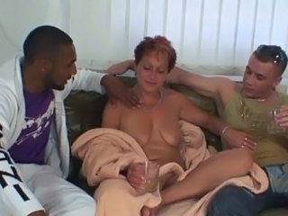 Drunk Mature Mom Old and Young SaggyTits Threesome