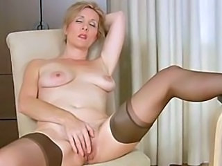 Masturbating Mature SaggyTits Solo Stockings