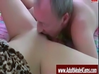 Close up Daddy Licking Old and Young Shaved Teen