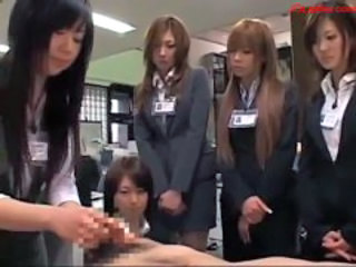 Asian CFNM Handjob Office