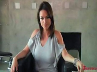 Hot, busty brunette, Franceska, loves threesome action with big white cocks and big black dicks