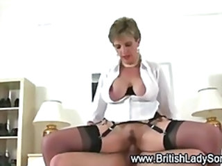 Big Tits British Clothed European MILF Riding Stockings