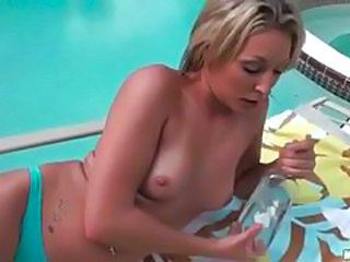 Blonde MILF Oiled Panty Pool