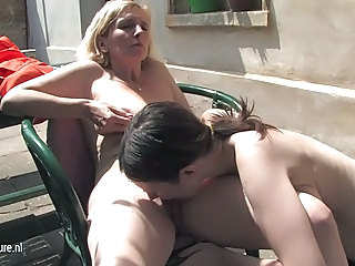 Daughter Granny Lesbian Licking Outdoor Young