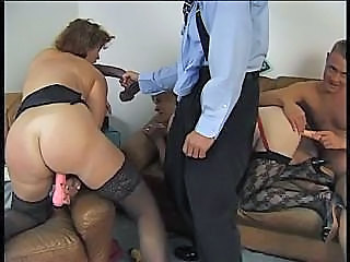 Two Fat Grannies Playing With A Dildo And A Couple Of Old Cocks