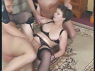 Hardcore Lingerie Mature SaggyTits Stockings Threesome