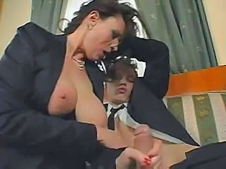 Big Tits Handjob Mature Old and Young Secretary