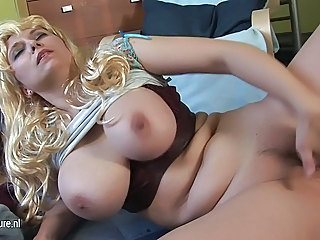 Amazing Big Tits Blonde Chubby Masturbating MILF