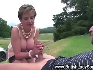 Big Tits British European Handjob Mature MILF Natural Outdoor
