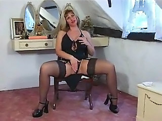 Blonde British European Lingerie MILF Stockings