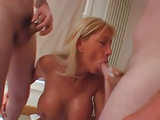 Big Tits Blonde Blowjob British European MILF Threesome