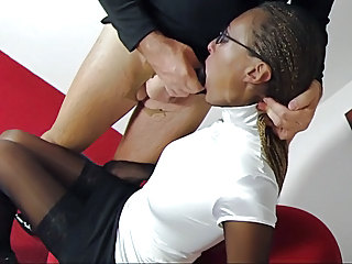 Blowjob Ebony Glasses Secretary Stockings