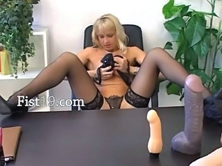 Dildo Masturbating Solo Stockings Toy